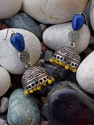 Blue Yellow Silver Tone Jhumki Earrings