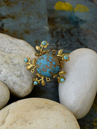 Turquoise Beige Gold Tone Adjustable Ring