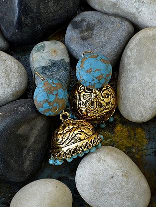 Turquoise Beige Gold Tone Jhumki Earrings