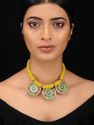 Muticolored Silver Tone Embroidered Necklace