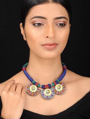 Multicolored Silver Tone Embroidered Necklace