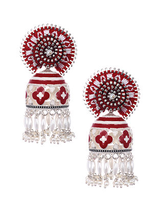 Red White Siver Tone Enameled and Embroidered Earrings with Pearls