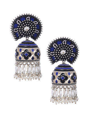 Blue Silver Tone Enameled and Embroidered Earrings with Pearls