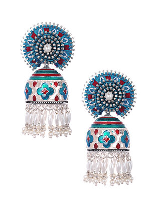 Blue Red Silver Tone Enameled and Embroidered Earrings with Pearls