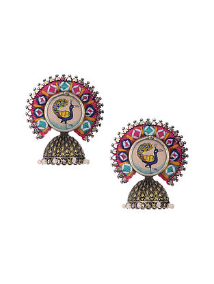 Multicolored Gold Tone Enameled and Embroidered Earrings