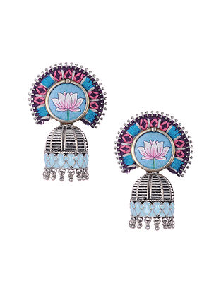 Blue Pink Silver Tone Enameled and Embroidered Earrings