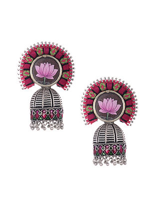 Red Pink Silver Tone Enameled and Embroidered Earrings