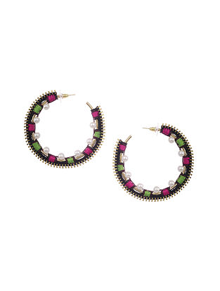 Black Gold Tone Embroidered Earrings with Pearls