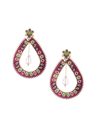 Pink Gold Tone Embroidered Earrings