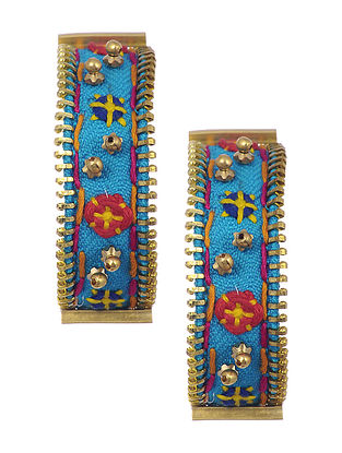 Blue Gold Tone Embroidered Earrings