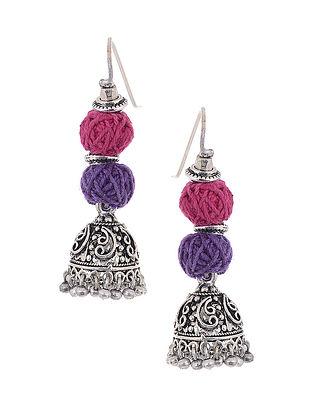 Pink-Purple Silver Tone Jhumkis