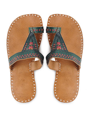 Tan-Green Handcrafted Leather Flats