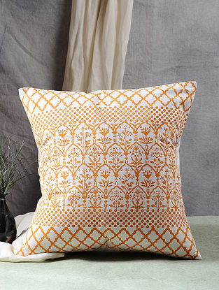 Multicolor Block Printed Cotton Sateen Cushion Cover (16in X 16in)