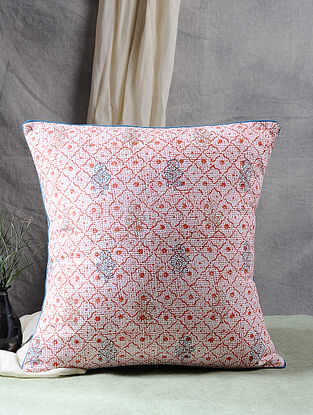 Multicolor Block Printed Cotton Cushion Cover (17.5in X 17.5in)