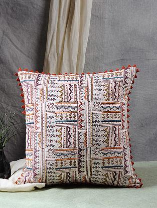 Multicolor Block Printed Cotton Slub Cushion Cover (16in X 16in)