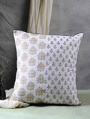 Multicolor Block Printed Cotton Cushion Cover (17in X 16in)