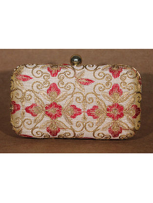 Gold with Maroon Machine Embroidered Raw Silk Clutch