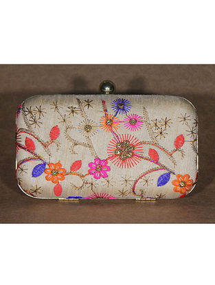 Multicoloured Machine Embroidered Raw Silk Clutch