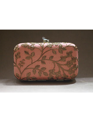 Peach Machine Embroidered Raw Silk Clutch