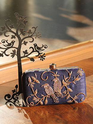 Navy Blue Hand Embroidered Raw Silk Clutch