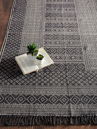 Brown-Grey Hand Block-printed Cotton Rug (6.2ft x 3.1ft)