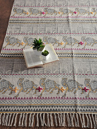 Multicolored Hand Block-printed Cotton Rug (6.3ft x 4ft)