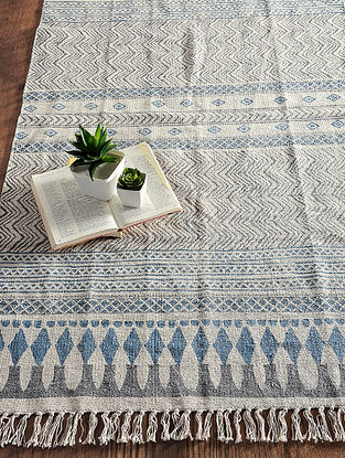 Blue-Grey Hand Block-printed Cotton Rug (5ft x 2.9ft)