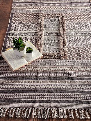 Brown-Grey Hand Block-printed Cotton Rug (5ft x 2.9ft)
