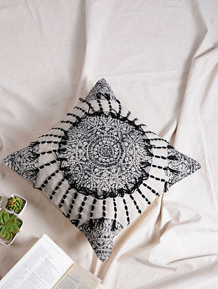 Black-White Cotton Cushion Cover (17.5in x 17.5in)