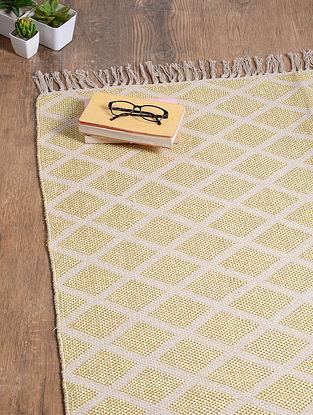 Grey-Golden Handwoven Cotton Rug (6ft 2in x 4ft 1in)