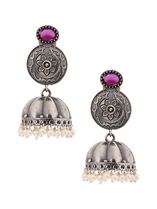Pink Silver Tone Jhumki Earrings with Pearls