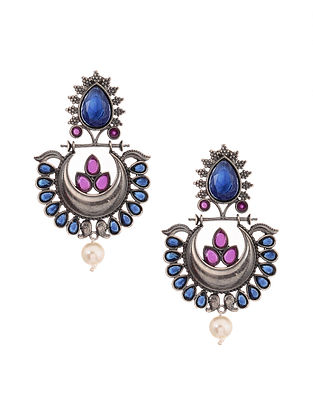 Blue Pink Silver Tone Earrings with Pearls
