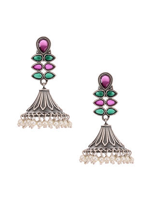 Green Pink Silver Tone Jhumki Earrings with Pearls