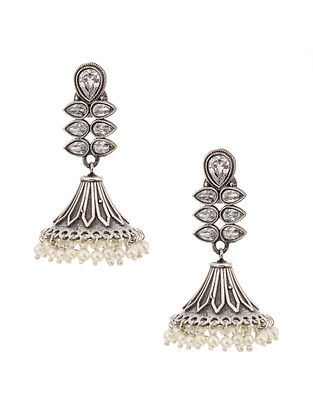Silver Tone Jhumki Earrings with Pearls