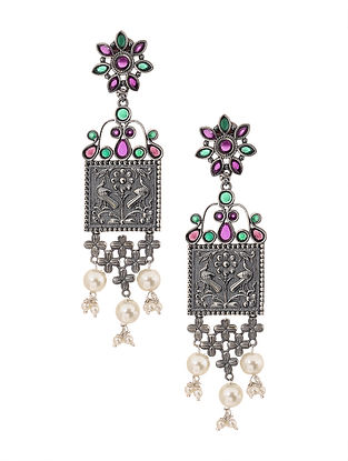 Green Pink Silver Tone Earrings with Pearls