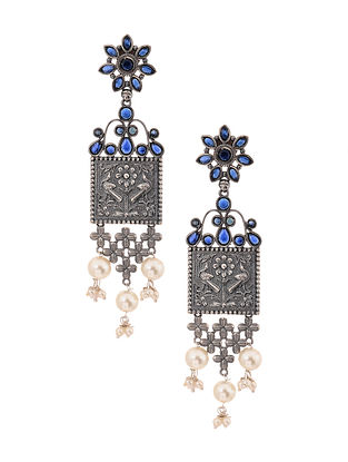 Blue Silver Tone Earrings with Pearls