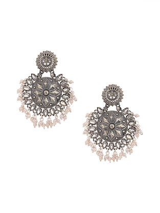 Silver Tone Earrings with Pearls