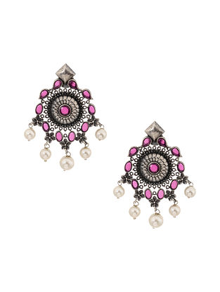 Pink Silver Tone Earrings with Pearls