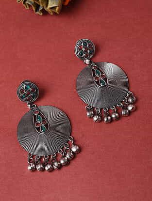Green Red Silver Tone Tribal Earrings