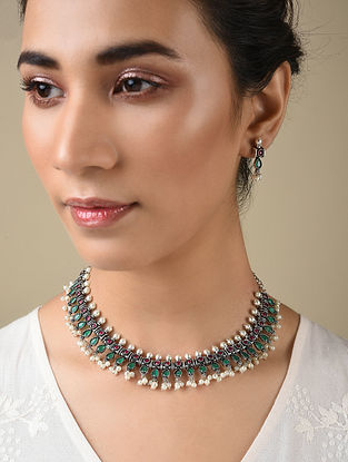 Green Pink Silver Tone Handcrafted Necklace And Earrings With Pearls
