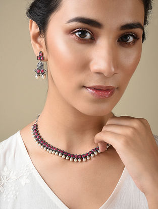 Pink Silver Tone Handcrafted Necklace And Earrings With Pearls