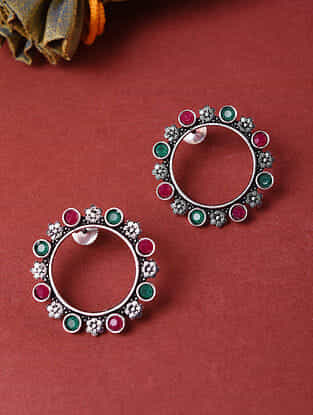 Red Green Silver Tone Handcrafted Earrings