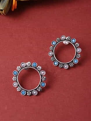 Turquoise Silver Tone Handcrafted Earrings With Pearls