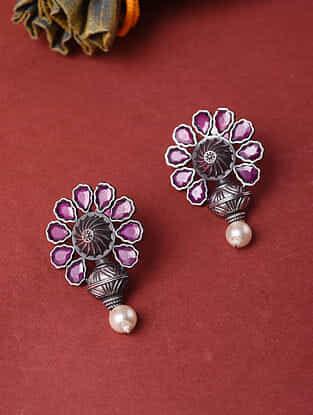 Pink Silver Tone Handcrafted Earrings With Pearls