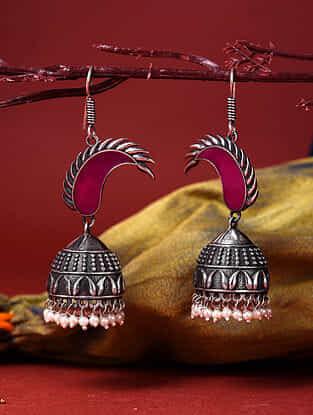 Pink Silver Tone Enameled Jhumki Earrings With Pearls
