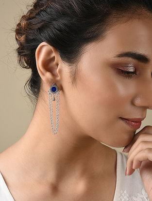 Blue Silver Tone Enameled Earrings