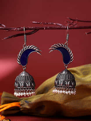Blue Silver Tone Enameled Jhumki Earrings With Pearls