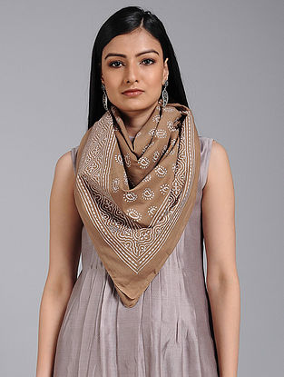 Beige-Ivory Block-printed Cotton Scarf