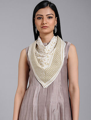 Ivory-Grey Block-printed Cotton Scarf