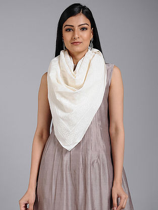 Ivory Block-printed Cotton Dupatta
